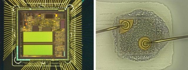 ワイヤーボンディング例と金ワイヤー接合部